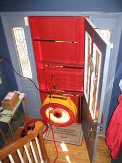 Blower door test for Augusta homes